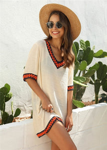 Beach Dress Cover Up Women White V-neck Beachwear