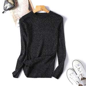 Womens Sweaters 2018 Winter Shiny Lurex Autumn Winter Sweater Women Long Sleeve Pullover Women Tops Basic Christmas Sweater Pull