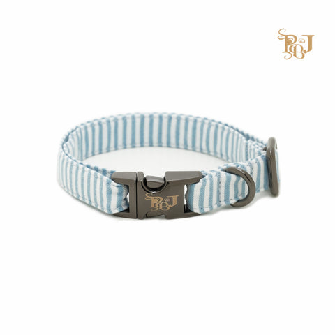 P. Bee & Joanne - Benoit Collar - Aqua and White Stripes - img 1
