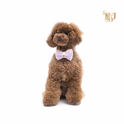 P. Bee & Joanne - Kylie-Rose Bow Tie Collar - Doubled Layered of Lilac on Light Pink - img 1