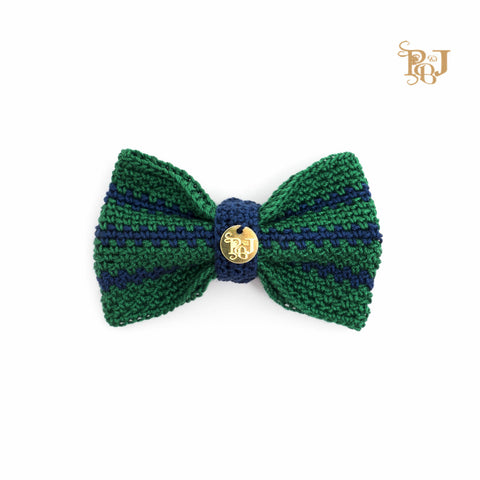 P. Bee & Joanne - Twyford Bow Tie Collar - Emerald Green and Navy Stripes - img 1