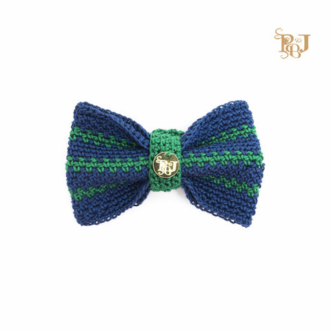 P. Bee & Joanne - Twyford Bow Tie Collar - Navy and Emerald Green Stripes - img 1