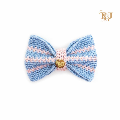 P. Bee & Joanne - Twyford Bow Tie Collar - Pastel Blue and Pastel Pink Stripes - img 1