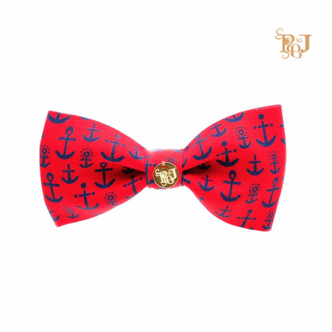 P. Bee & Joanne - Anchorage Snap-on Bow Tie - Blue Anchors on Red
