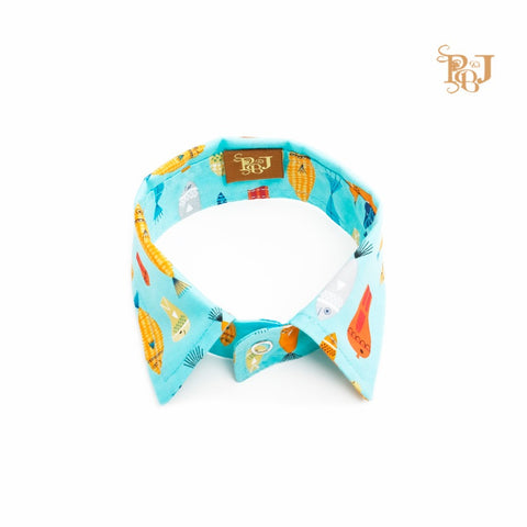 P. Bee & Joanne - James Collar - Fish Print on Turquoise