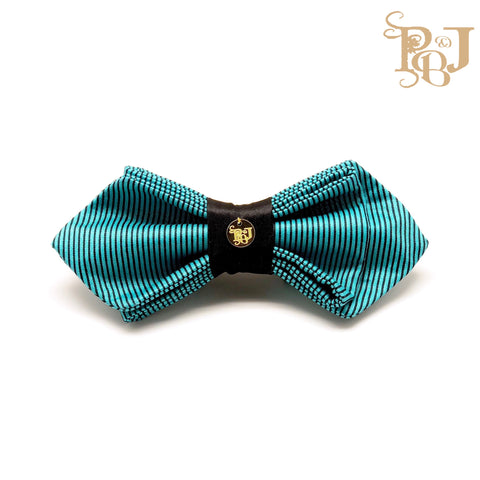 P. Bee & Joanne - Karl Tri-Fold Diamond Point Snap-On Bow Tie - Teal