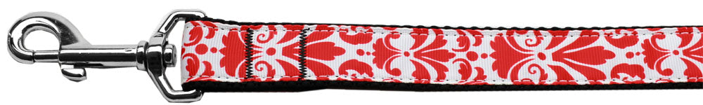 Damask Red Nylon Dog Leash Inch Wide Long