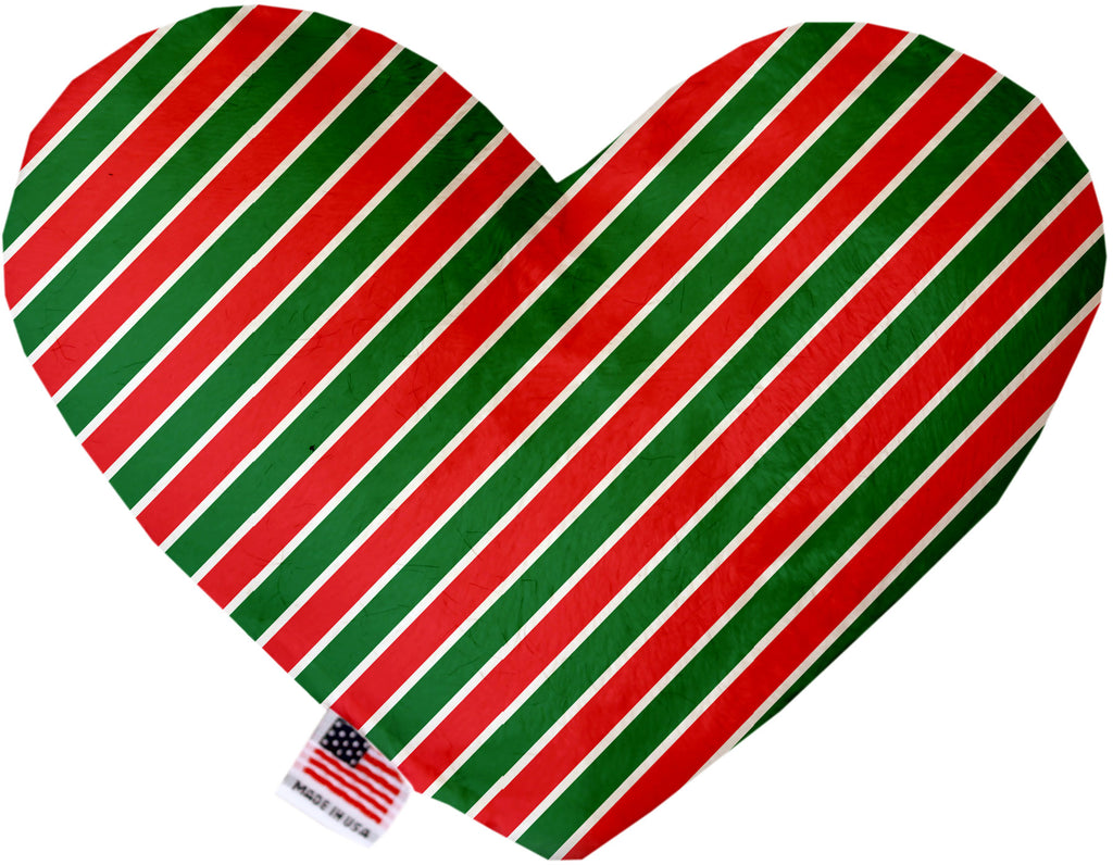 Christmas Stripes 6 Inch Heart Dog Toy