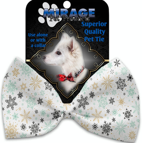Vintage Snowflakes Pet Bow Tie Collar Accessory With Velcro