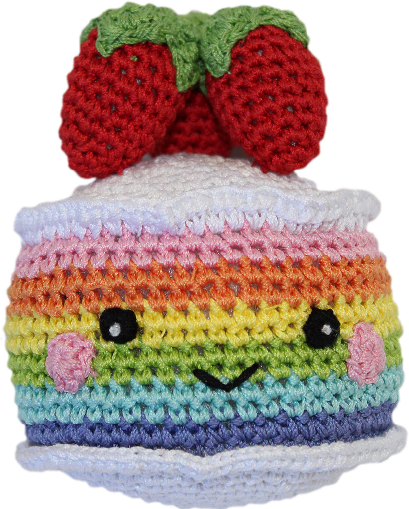 Knit Knacks Rainbow Cake Organic Cotton Small Dog Toy