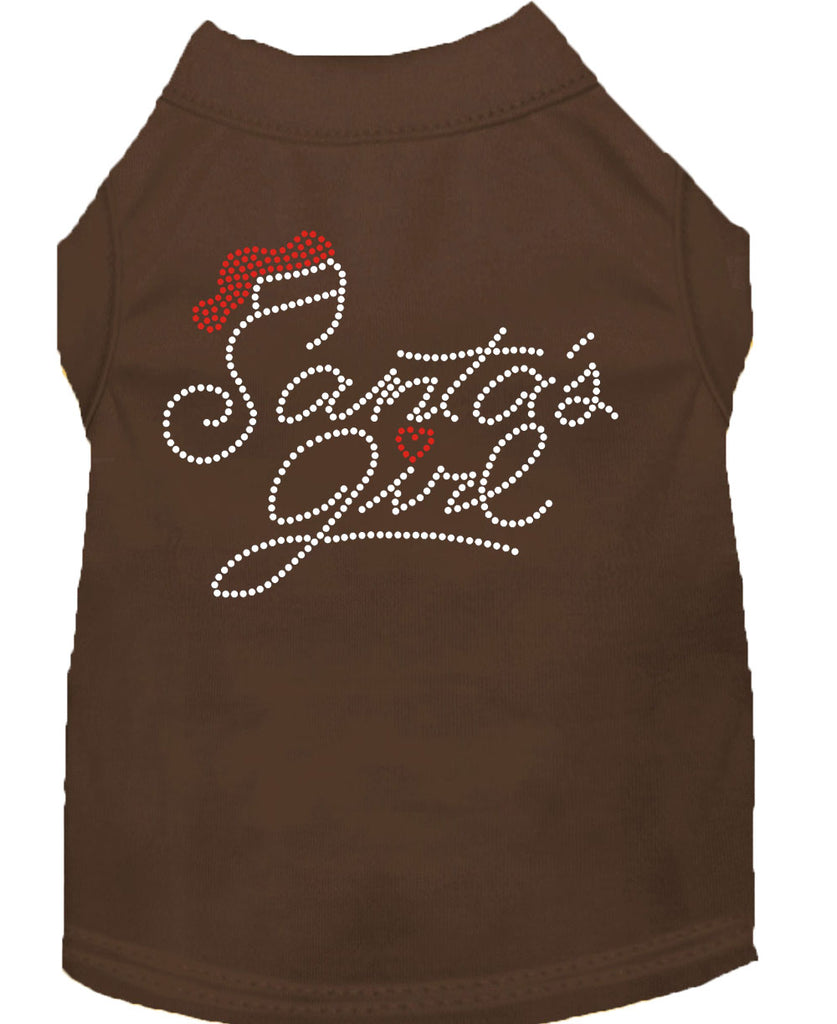 Santa's Girl Rhinestone Dog Shirt