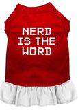 Nerd Is The Word Screen Print Dress Red