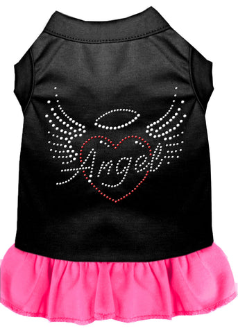 Angel Heart Rhinestone Dress Black With Bright Pink