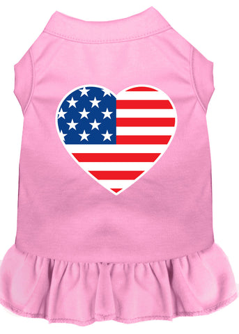 American Flag Heart Screen Print Dress Light Pink