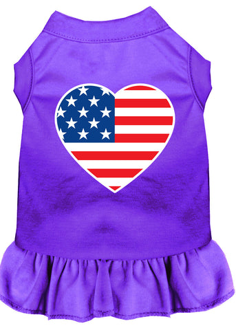 American Flag Heart Screen Print Dress Purple