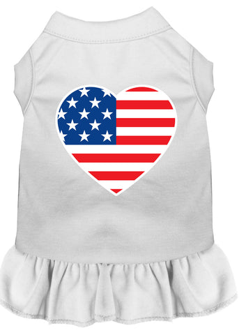 American Flag Heart Screen Print Dress White