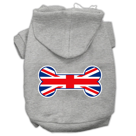 Bone Shaped United Kingdom (union Jack) Flag Screen Print Pet Hoodies