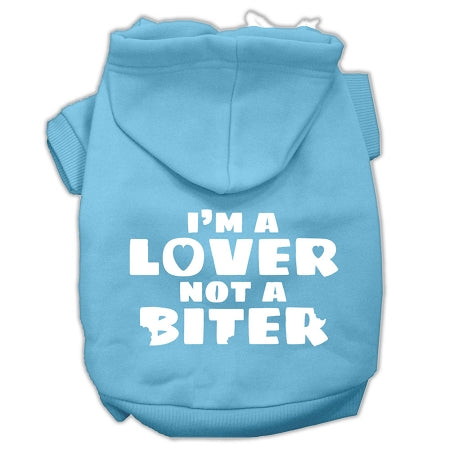 I'm A Lover Not A Biter Screen Printed Dog Pet Hoodies Size