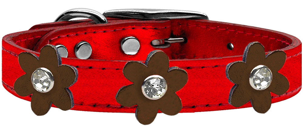 Metallic Flower Leather Collar Metallic Red With Metallic Flowers Size