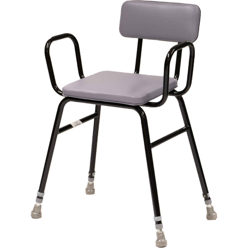 Black Perching Stool with Arms and Padded Back