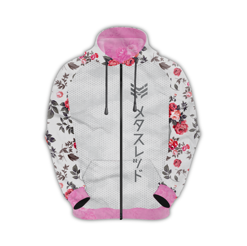 Snow Blossom Zip-Up Hoodie