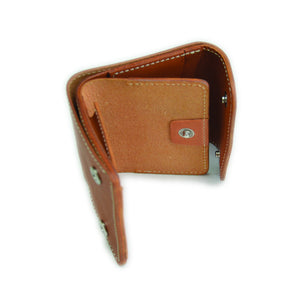 COMPACT WALLET WITH COIN SLOT <TANNED>