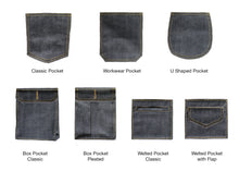 Load image into Gallery viewer, DEEP INDIGO FOREST GREEN SELVEDGE DENIM