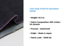 Load image into Gallery viewer, TWO TONE STRETCH SELVEDGE DENIM * - Nama Denim