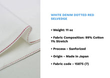 Load image into Gallery viewer, WHITE DENIM DOTTED RED SELVEDGE