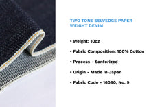 Load image into Gallery viewer, TWO TONE SELVEDGE PAPER WEIGHT DENIM - Nama Denim