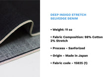 Load image into Gallery viewer, DEEP INDIGO STRETCH SELVEDGE DENIM * - Nama Denim