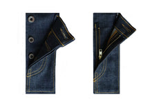 Load image into Gallery viewer, WHITE DENIM NAVY SELVEDGE