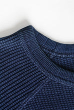 Load image into Gallery viewer, INDIGO WAFFLE KNITTED SWEATSHIRT