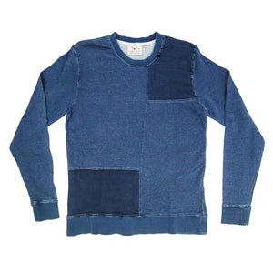 INDIGO PATCHWORK SWEATSHIRT (VINTAGE BLUE) - Nama Denim