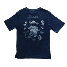 Load image into Gallery viewer, INDIGO DYED T-SHIRT <DARK INDIGO, JAPAN TIGER DESIGN>