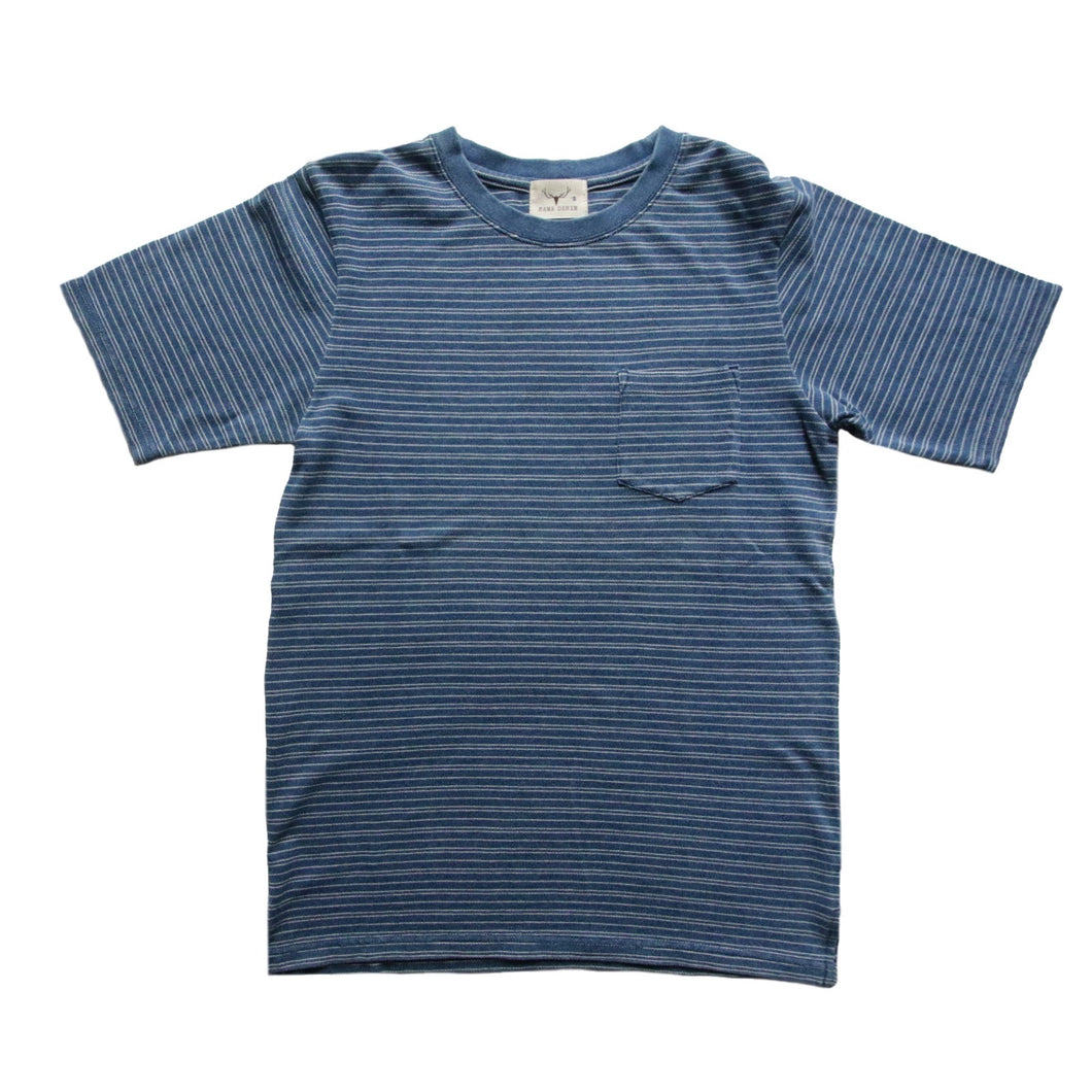 INDIGO ONE POCKET T-SHIRT HORIZONTAL STRIPES