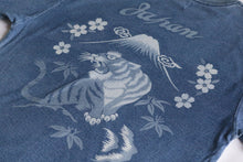 Load image into Gallery viewer, INDIGO DYED T-SHIRT VINTAGE BLUE <JAPAN TIGER DESIGN>