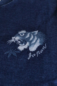 INDIGO DYED T-SHIRT <DARK INDIGO, JAPAN TIGER DESIGN>