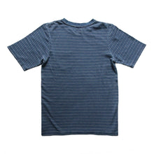 Load image into Gallery viewer, INDIGO ONE POCKET T-SHIRT HORIZONTAL STRIPES