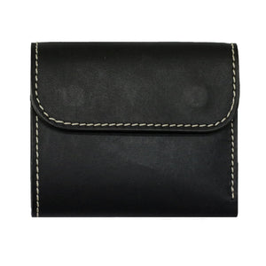 COMPACT WALLET WITH COIN SLOT <BLACK> - Nama Denim