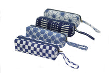 Load image into Gallery viewer, Aizome Indigo Shibori (Tie-Dye) Pencil Case (003)