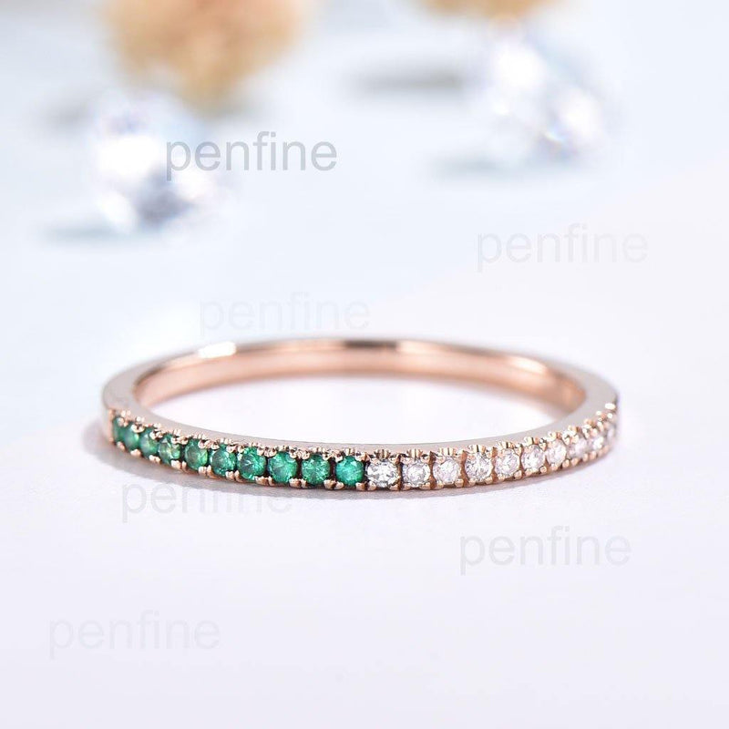 emerald and diamond wedding band