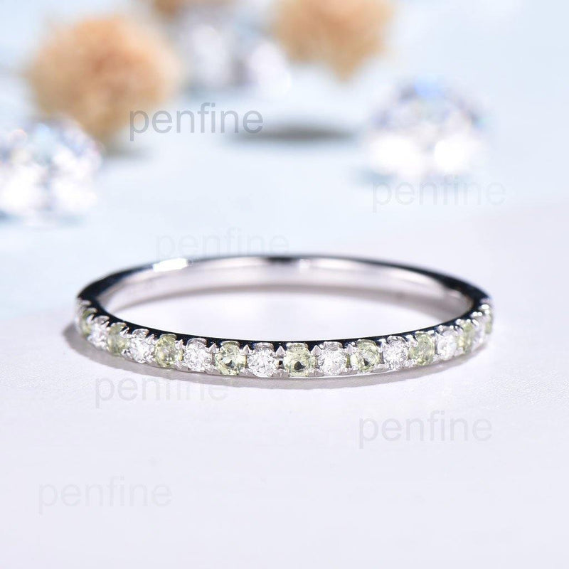 peridot and diamond wedding band