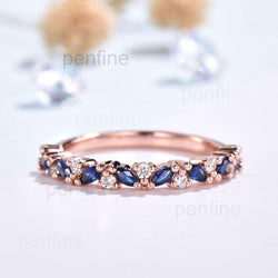 sapphire and moissnaite wedding band