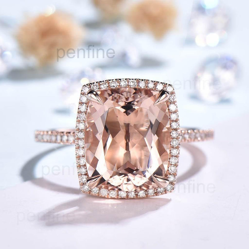 10X12mm Cushion Morganite Diamond Engagement Ring Rose Gold Claw Prong - PENFINE