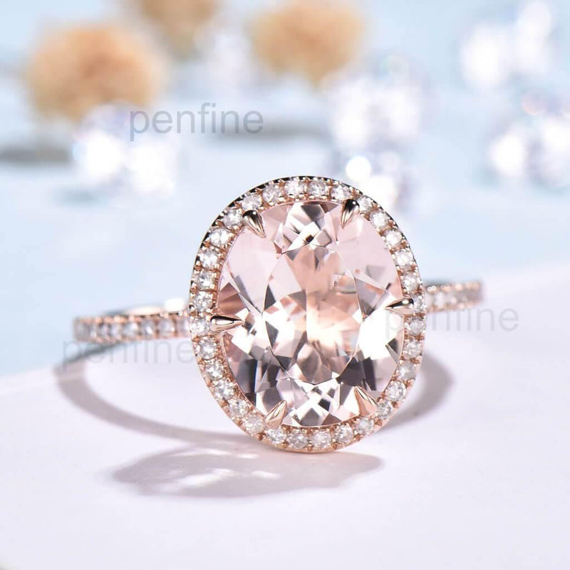 Oval Pink Morganite Diamond Engagement Ring Rose Gold 6 prongs - PENFINE
