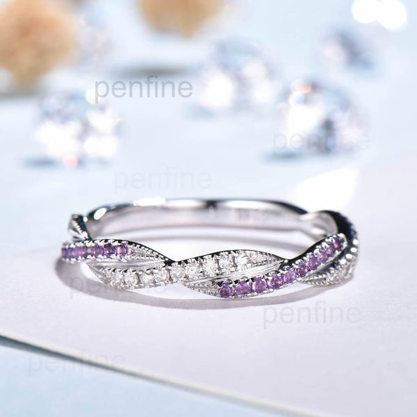 Petite Twisted Vine Infinity Amethyst Diamond Wedding Band Half Eternity - PENFINE