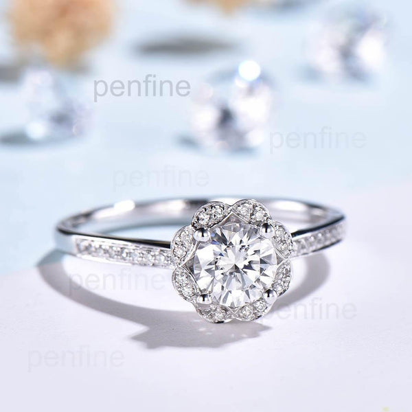 Floral Halo Moissanite Sunflower Diamond Engagement Ring Channel Set - PENFINE