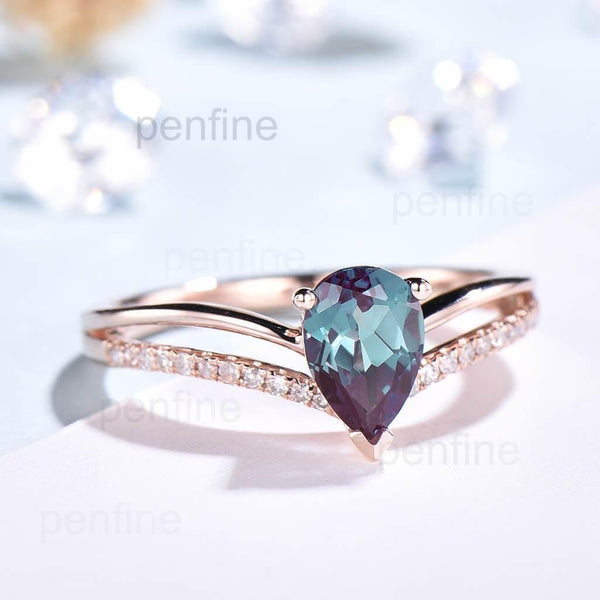 Split Shank Pear Alexandrite Diamond Halo Engagement Ring 5x7 - PENFINE