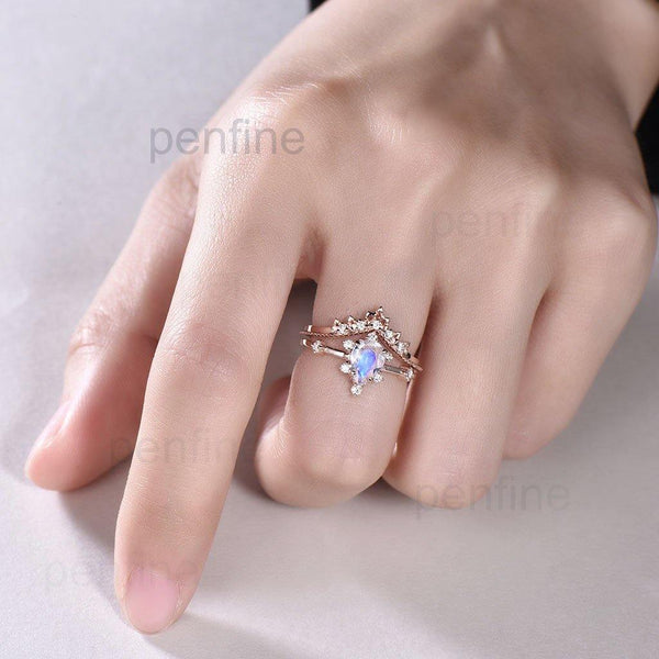 moonstone engageemnt ring set